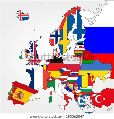 Highly Detailed Europe Map With Country Flags. - stock vector