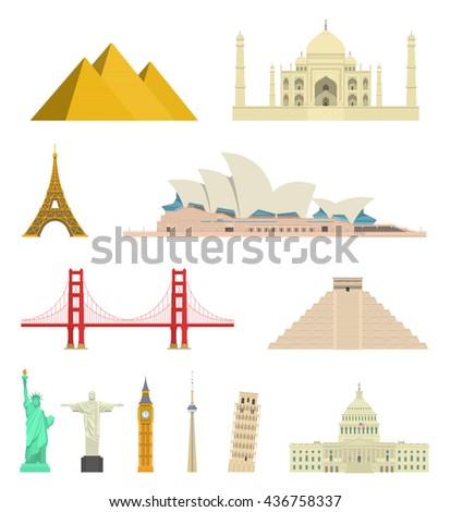 Highly detailed flat world landmarks icon set. Vector travel destinations, monument and architecture illustration. Egypt pyramid, Taj Mahal, Eiffel Tower, Sydney Opera House, Christ Redeemer, Big Ben - stock vector