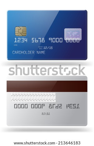 Highly detailed glossy blue credit card. Both sides. - stock vector