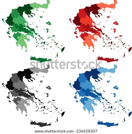 Highly Detailed Greece political map in four different color. Isolated, editable. - stock vector