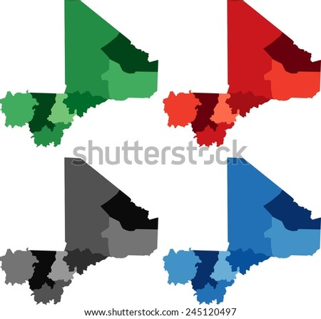 Highly detailed Mali political map in four different color. Isolated, editable. - stock vector