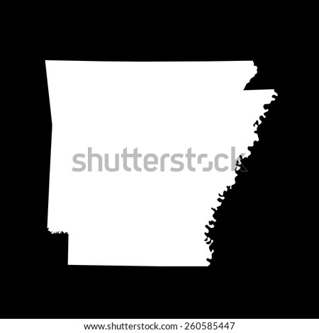Highly detailed map of Arkansas - stock vector