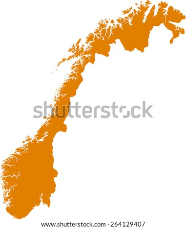 Highly detailed map of Norway - stock vector