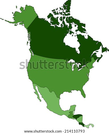 Highly Detailed North America political map - stock vector