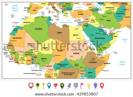 Highly detailed political map of Northern Africa and the Middle East isolated on white and flat map pointers with separated layers. - stock vector