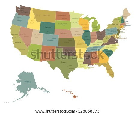 Highly detailed political USA map with names of states and cities . - stock vector