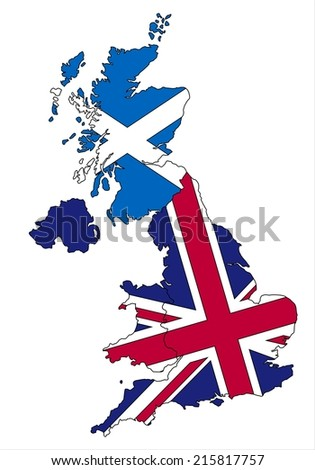 Highly detailed Scotland and United kingdom map and flag. - stock vector