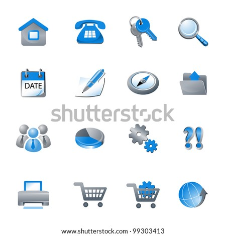 Highly detailed vector Icons for web applications. Glossy web elements - stock vector
