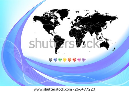Highly detailed world map with smooth abstract background - Separable countries by borders. Vector Illustration - stock vector