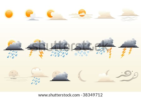 Highly illustrated icons set for weather forecast. - stock vector