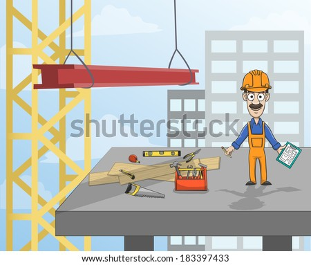 Highrise building construction worker with instruments standing on concrete platform vector illustration - stock vector