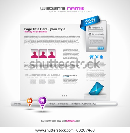 HighTech Website - Elegant Design for Business Presentations with a lot of design elments and a login form. - stock vector
