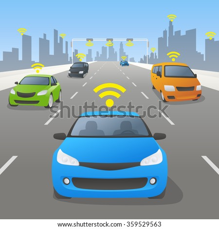 Highway communication system and vehicles, front view, vector illustration - stock vector