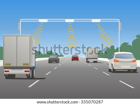 Highway communication system and vehicles, vector illustration - stock vector