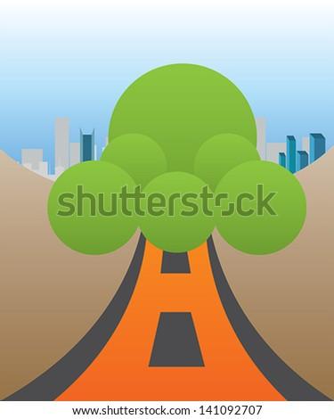 highway tree - stock vector
