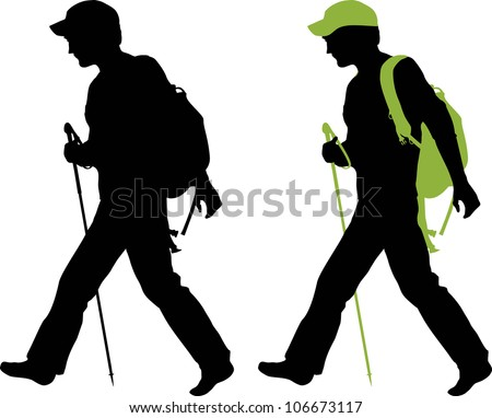 Hiker (backpacker) silhouette walking.  All hiker equipment is separated. - stock vector
