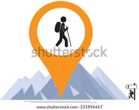hiker mountains and map pointer  - stock vector