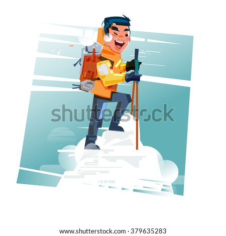 Hiker with backpack on top of snow mountain. hiking. successful concept. character design - vector illustration - stock vector