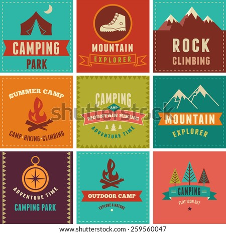 Hiking, camp badges, icons banners and elements - stock vector