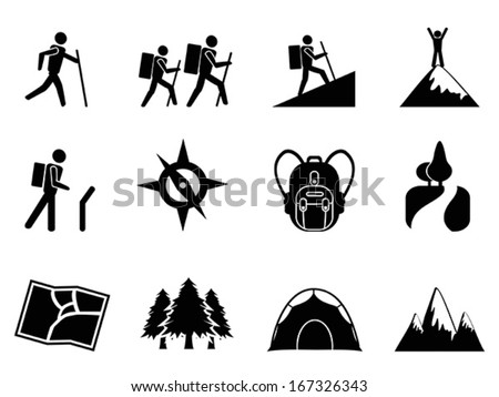 hiking icons - stock vector