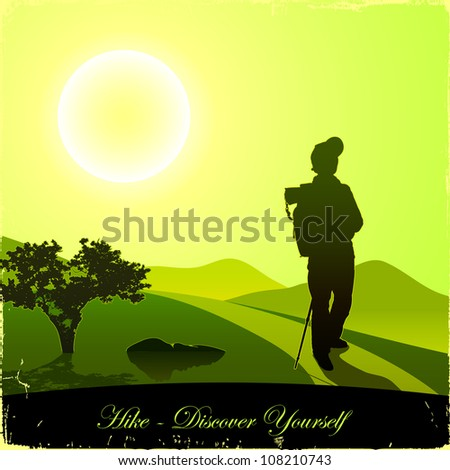 Hiking man with rucksack in mountain in the morning - stock vector