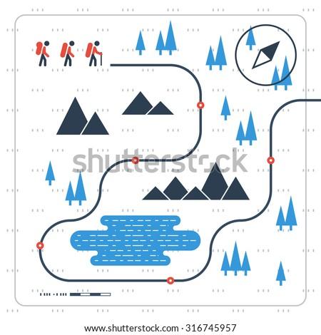 Hiking team. Sport orienteering in cross country. - stock vector