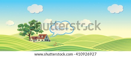 Hilly rural landscape with house and tree. - stock vector