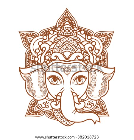 Hindu elephant head God Lord Ganesh. Hinduism. Paisley background. Indian, Hindu motifs. Henna tattoo, textiles, sticker. Cheerful colorful style. Vector elements isolated. Monochrome linear figure.  - stock vector