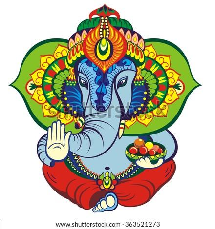 Hindu elephant head God Lord Ganesha - stock vector