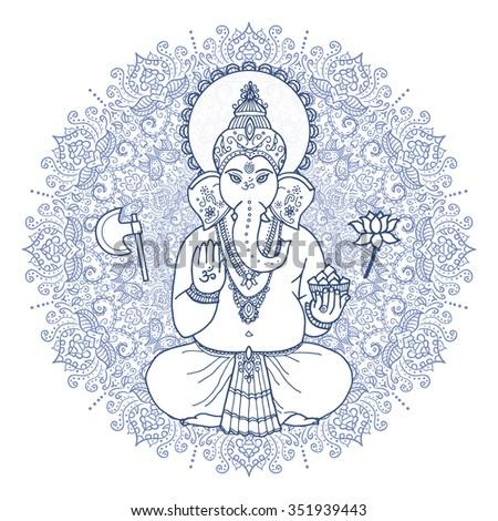 Hindu elephant head God Lord Ganesha.  Hand drawn paisley background. Indian, Hindu motifs. Tattoo, yoga, spirituality, textiles.  - stock vector