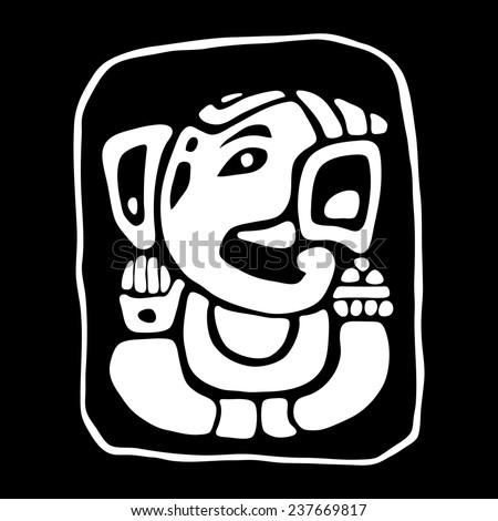Hindu God Ganesha (Ganapati). Vector hand drawn illustration. - stock vector