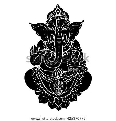 Hindu God Ganesha. Ganapati. Vector hand drawn illustration. Isolated on white background - stock vector