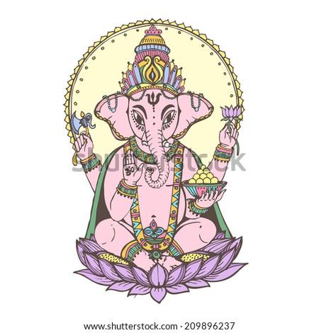 Hindu god ganesha -- the god of wisdom and prosperity. Vector hand drawn illustration. - stock vector