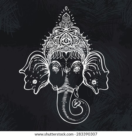 Hindu god Ganesha. Vector illustration over the blackboard background. - stock vector