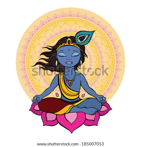 Hindu God Krishna. Vector hand drawn illustration. - stock vector