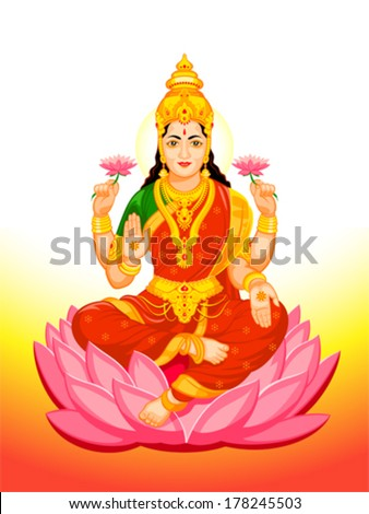 Hindu Goddess Lakshmi of wealth, prosperity, fortune, and the embodiment of beauty - stock vector