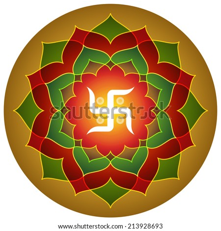 Hindu Symbol Swastika Lotus Design - stock vector