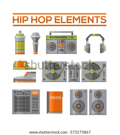 Hip hop elements set. Flat vector illustration. Graffiti spray, microphone, boom box, headphones, cap, shoes, turntable, beat, sketch book in white background. - stock vector