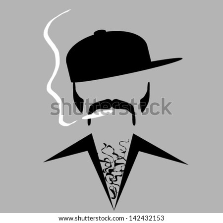 hip man smoking - stock vector