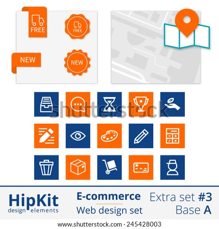 HipKit E-commerce web design elements extra set 3. Base A. Contains map design, labels free delivery and new, 15 icons. Line thickness fully editable. Text outlined. Free font Source Sans Pro - stock vector