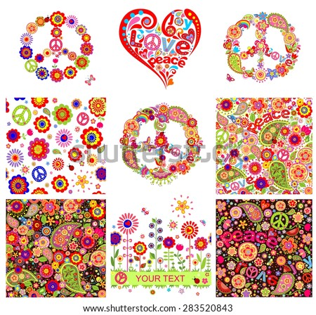 Hippie backgrounds and design elements - stock vector