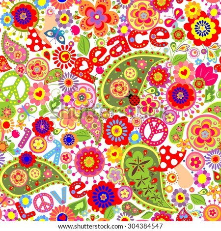 Hippie childish colorful wallpaper with mushrooms and poppies - stock vector