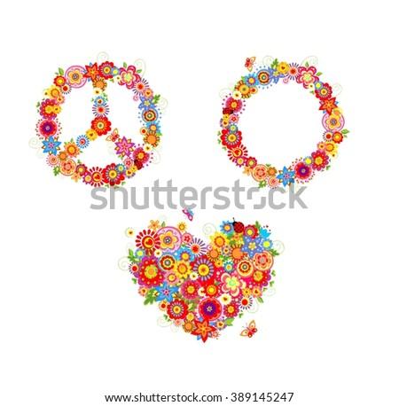 Hippie flowers - stock vector