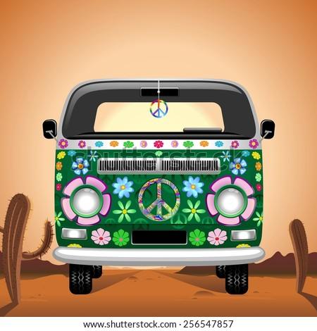 Hippie Groovy Van Traveling on the Desert  - stock vector