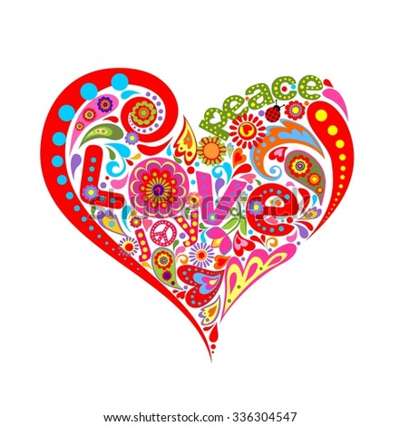 Hippie heart with colorful floral pattern - stock vector