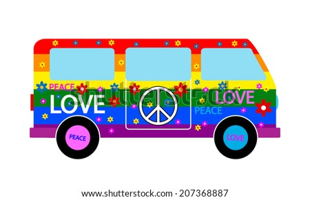 Hippie minibus icon on white background. Vector illustration. - stock vector