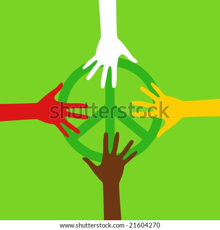 Hippie peace sign. Different races. - stock vector