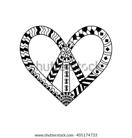 Hippie peace symbol in zentangle style for adult anti stress. Coloring book page. Pacific sign in heart's shape. Pacifism pattern. Hippy black and white vector illustration. Retro 1960s, 60s, 70s - stock vector