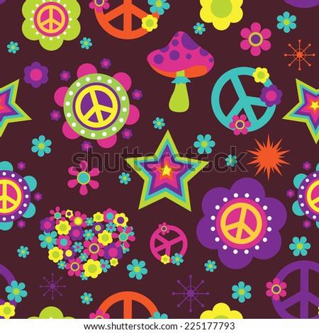 Hippie style seamless pattern - stock vector