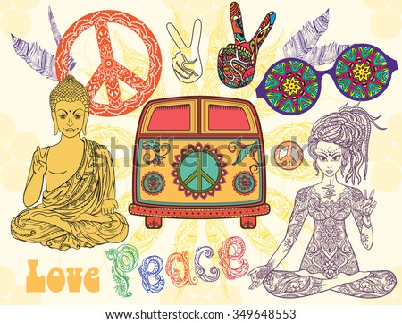 Hippie style set. Ornamental retro background. Love and Music with hand-written fonts, hand-drawn doodle background and textures. Hippy color vector illustration. Retro 1960s, 60s, 70s  - stock vector
